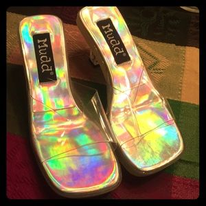 Clear holographic square toed heels